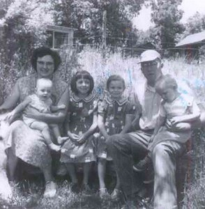Mom and Dad and the oldest four kids. Donner Addition, Sheridan, Wyoming 1959